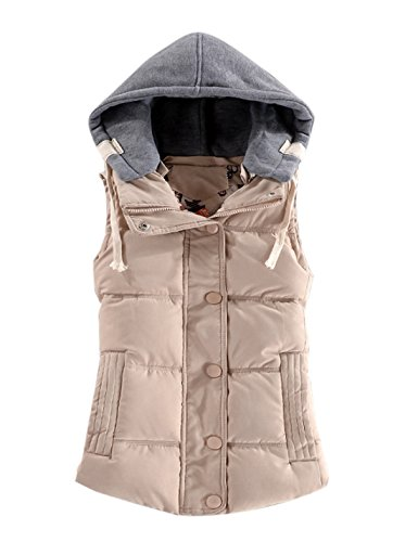 Beige Womens Quilted Vest (Gihuo Women's Lightweight Quilted Padding Puffer Vest With Removable Hood (Beige, Small))