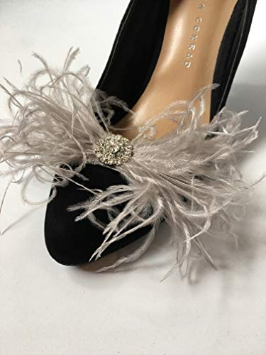 (Detachable Grey Ostrich Feather Bow and Rhinestone Brooch Shoe Clips Set of)