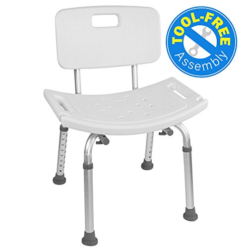 Medical Tool-Free Assembly Spa Bathtub Adjustable Shower Chair Seat Bench with Removable Back - Bathroom Spa Tub