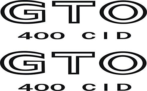 - Pontiac GTO 400 CID Fender Wing Decals 1968-73 (Black)