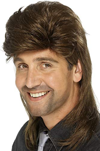 Smiffys Men's Brown Mullet Wig, One Size, -