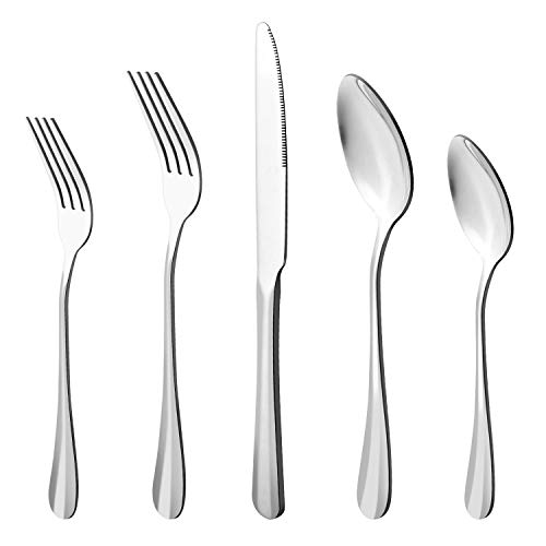 20-Piece Stainless Steel Flatware Cutlery Set, Utensils Service for 4, Include Knife/Fork/Spoon(Extra give a steak knife…