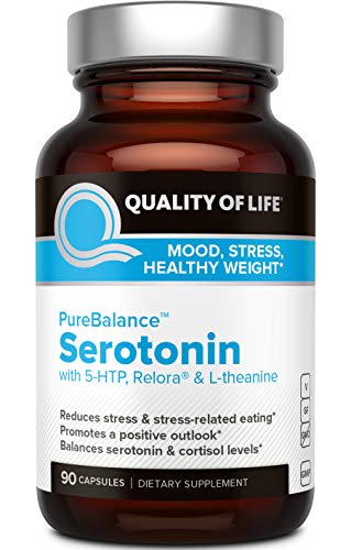 Quality of Life Pure Balance Serotonin Premium 5-HTP & Stress Supplement-Helps Boost Serotonin & Cortisol Levels-Mood & Sleep-Includes Relora, Rhodiola, Vitamin D3 & L-Theanine-90 Capsules