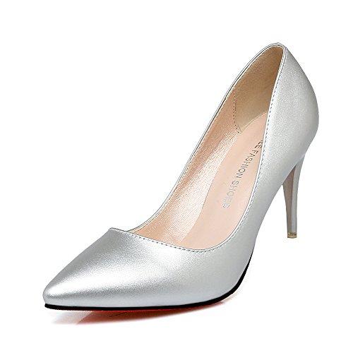 Xue tacones la cuero Qiqi luz la chica Punta de cm fina con con Plata de altos salvaje zapato un 38 comunidad solo zapatos 7 de pintura en nwnvx6XW