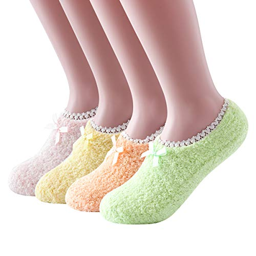 Ninecoo Cozy Fuzzy Women Socks,Gripper Slippers Socks,Fluffy No Show House Socks Lightweight Non Skid Bottoms 4Pairs (Socks Snuggle)
