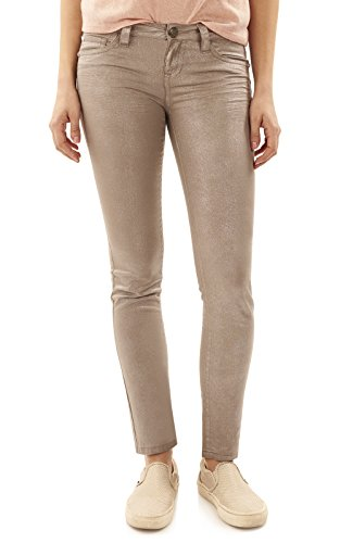 WallFlower Juniors Foil Wash Sassy Skinny in Champagne Size: (Juniors One Clothing Foil)