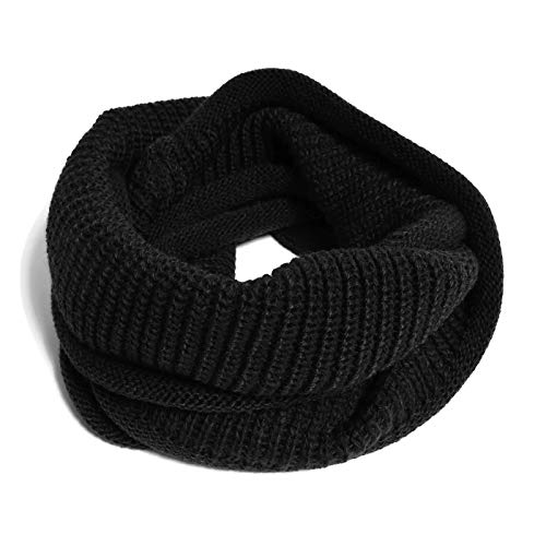 HappyTree Kids Hot Fashion Thick Knitted Winter Warm Infinity Scarf Black