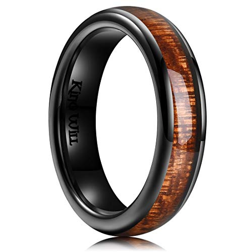 King Will Nature 5mm Black Domed Koa Wood Ceramic Ring Wedding Band Polished Finish Comfort Fit 8