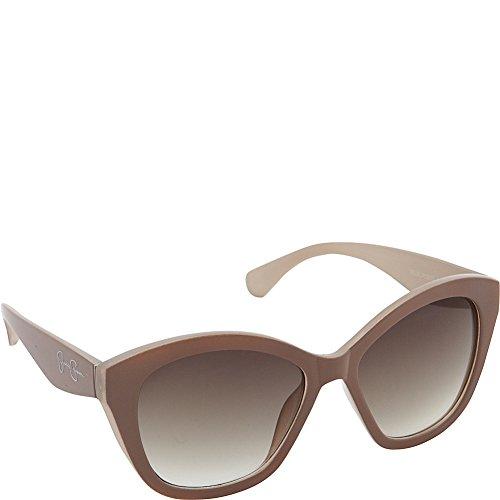 Jessica Simpson Women's J5338 NDCR Non-Polarized Iridium Cateye Sunglasses, Nude & Cream, 55 - White Simpson Sunglasses Jessica