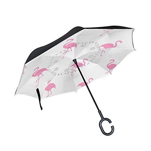 Reverse Umbrella Pink Flamingos Inverted Umbrella Reversible for Golf Car Travel Rain Outdoor Black