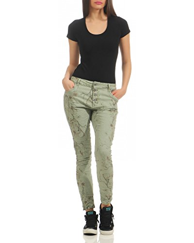 Zipper Larghi Pantaloni Donna Zarmexx Pattern Denim Da Jeans Esercito Floral Jw8100 Front Boyfriend Button xIww6P