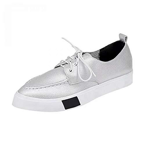 Pointu Femme SHOESHAOGE Blanc Noir Talon Plat Sneakers Argent Confort Chaussures Bout Polyuréthane PU argent Automne vvraq5