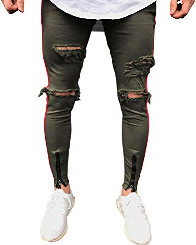 Hombres Pantalones de Deportivos Slim fit Skinny elásticos desgarrados Jeans Ejercito Verde