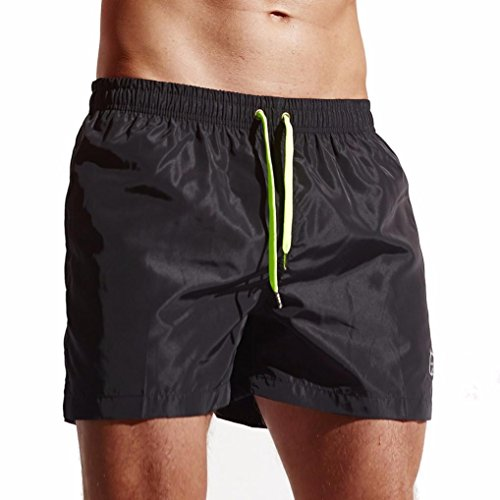 New!Todaies☞Men's Shorts Swim Trunks Quick Dry Beach Surfing Running Swimming Water short Pants (M, Black 2)