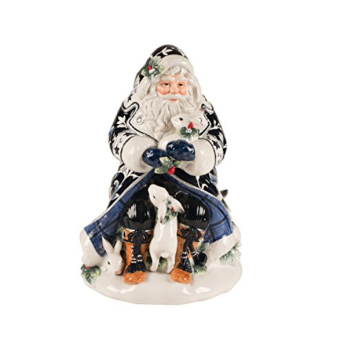 Fitz and Floyd Bristol Holiday Santa Cookie JAR, Blue/White