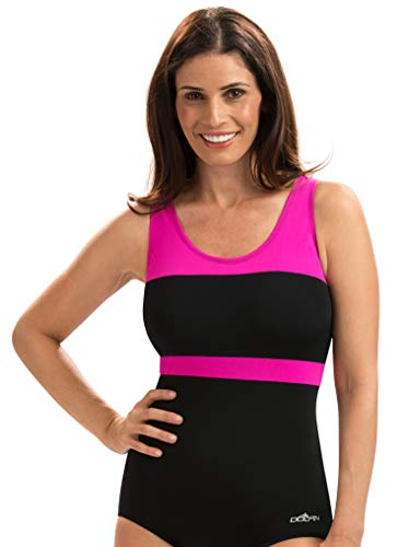 Dolfin Color Block Conservative Lap Suit | AMZ68553 (12, Black/Pink)