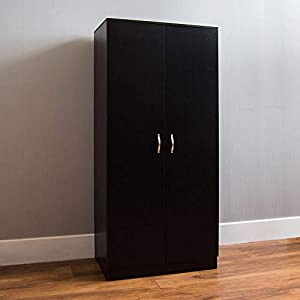 Vida Designs Riano 2 Door Wardrobe, Black Shelf & Hanging Rail Wooden Bedroom Storage Furniture