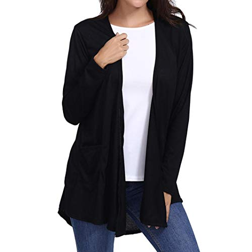 GOVOW Cotton Blend Breathable Cardigans Pocket Clearance Women Loose Casual Long Sleeved Open Front -