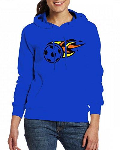 Soccer ball on fire right colors Womens Hoodie Fleece Custom Sweartshirts