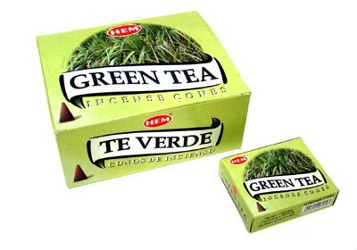 Green Tea - Case of 12 Boxes, 10 Cones Each - HEM Incense From India