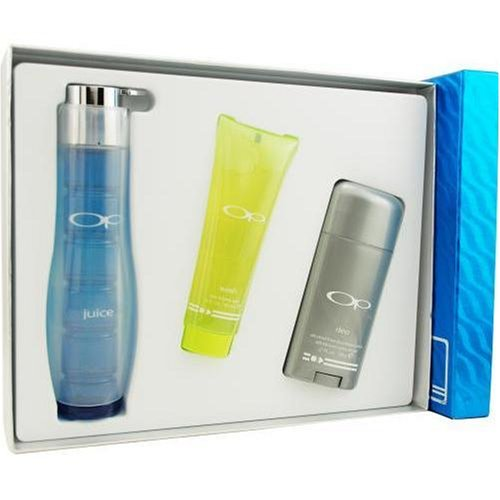 Op Juice By Ocean Pacific For Men. Set-cologne Spray 2.5 OZ & Hair And Body Wash 3 OZ & Deodorant Stick 2.75 OZ