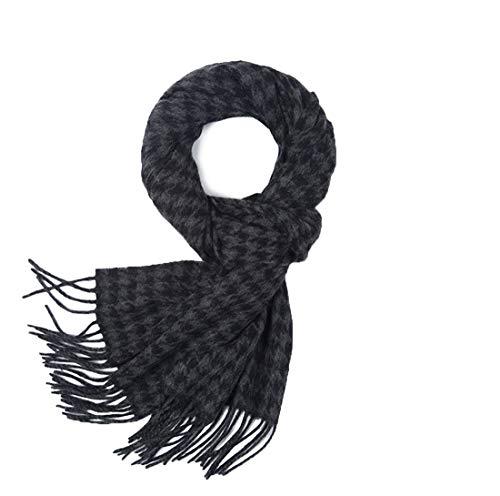 (Mens Cashmere Scarf, Winter Warm Cashmere Wool Blend Soft Fashion Scarfs Wraps for Men (Black gray bird))