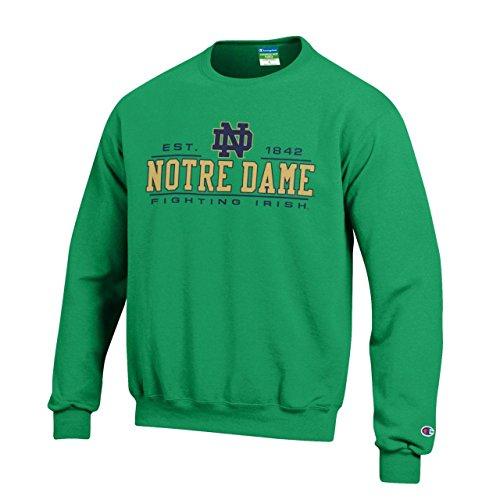 Champion Notre Dame Fighting Irish Adult Powerblend Fleece Crewneck - Green, Medium