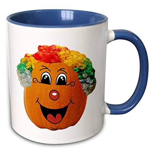3dRose Sandy Mertens Halloween Food Designs - Jack o Lantern Funny Clown Face Halloween Pumpkin, 3drsmm - 15oz Two-Tone Blue Mug (mug_290217_11) -