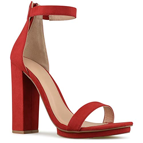 (Premier Standard - Women's Strappy Chunky Block High Heel - Formal, Wedding, Party Simple Classic Platform Pump, TPS2019100069 Red Size 7)