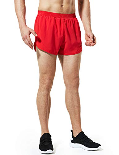 TSLA Men's 3 inches Quick-Dry Mesh Liner Pace Running Shorts Jogging Marathon w Pocket, Paceshorts 3inch(mbh23) - Red, Medium (Running Shorts Split)