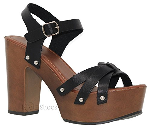 MVE Shoes Women's Ankle Strap Faux Wood Platform Chunky Heel Sandal, Black pu Size 9