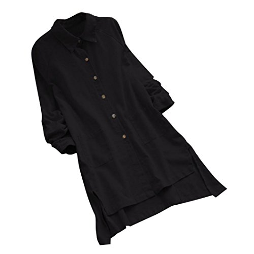 Long Cotton Shirt Plus Size Women's Long Sleeve Loose Casual Pocket Button Long Tops Shirt Blouse Duseedik Black