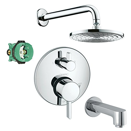 - Hansgrohe KST04231-27474-13PC Raindance Downpour Air 10-in Showerhead Kit with Tub Spout Thermostatic Trim with Diverter and Rough, Chrome