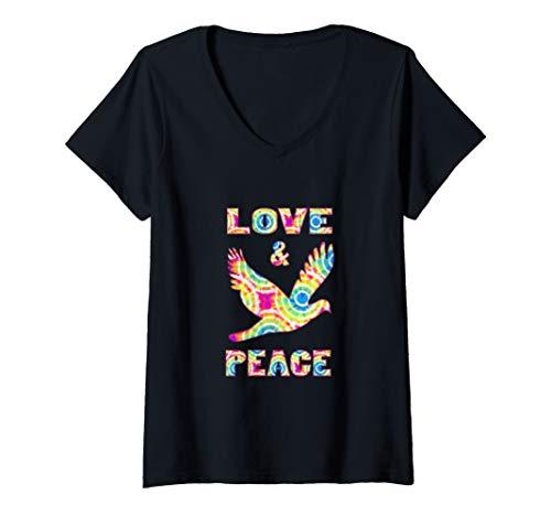 Womens Hippie Tie Dye Style Love Peace Symbol V-Neck T-Shirt