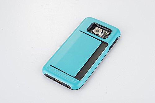 Funda Galaxy S6 Edge Plus, Sshuhu Ultra Slim Cubierta de Doble Capa de Protección Híbrida con Ranura de Tarjeta de Crédito y Kickstand Teléfono Caso para Samsung Galaxy G928F G928A 5.7 Rosa Azul