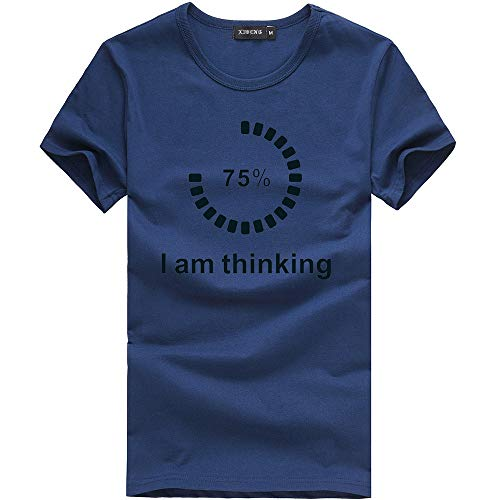 Eolgo Mens T-Shirt, Plus Size Thinking Creative Print Blouse, Fashion Summer Sport Casual Tops Navy by Eolgo (Image #4)