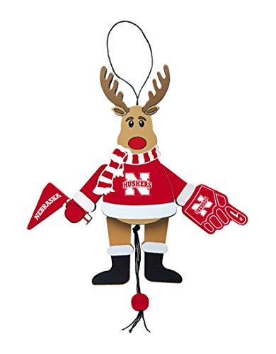 NCAA Nebraska Cornhuskers Wooden Cheer Ornament - Nebraska Cornhuskers Brown Football