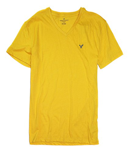 American Eagle Men's Seriously Soft Crew V-Neck Plain Basic T-Shirt 031 (Medium, V 704 Gold)