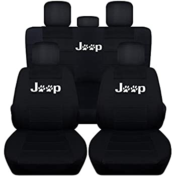 Superb Fits 2011 To 2018 Jeep Grand Cherokee Black Paw Print Seat Covers Front And  Rear Seat