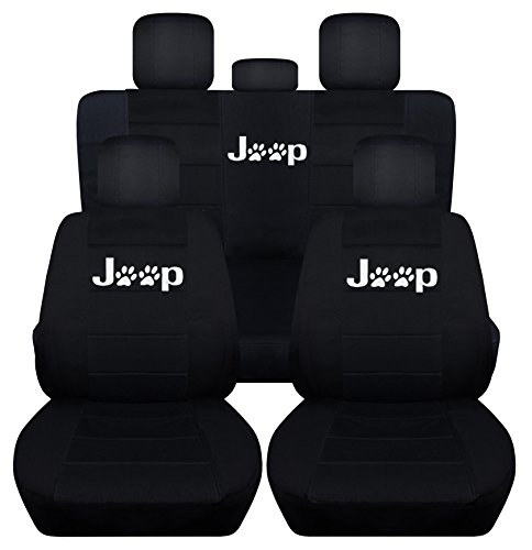 Fits 2011 to 2018 Jeep Grand Cherokee Black Paw Print Seat Covers Front and Rear Seat Covers Side Airbag Friendly