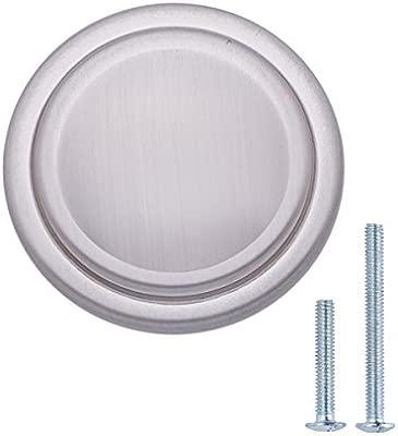 Paquete de 10 tradicional con dise/ño de aro superior 3,17 cm de di/ámetro Basics Pomo de armario N/íquel satinado