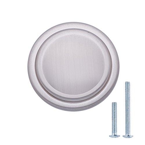 "AmazonBasics Straight Top Ring Cabinet Knob, 1.25"" Diameter, Satin Nickel, 25-Pack"