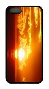 durable cover sunset sun ocean sky TPU Black Case for iphon 5/5S