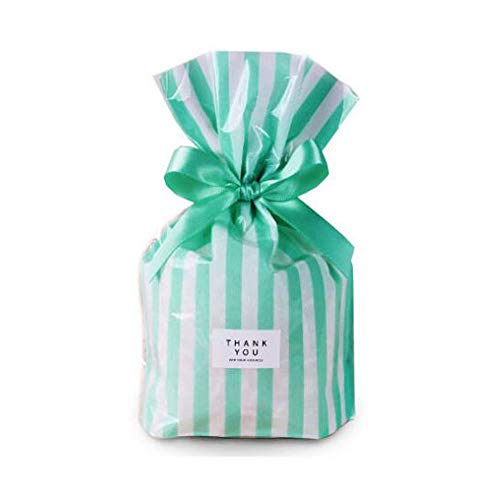 YESON Mint Green Stripe Clear Cello Bags Candy Plastic Party Favor cellophane Treat Bags,Pack of 100