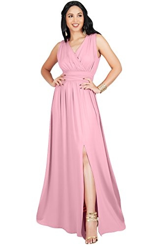 65bf6074c2d KOH KOH Plus Size Womens Long Bridesmaid Wedding Guest Cocktail Party Sexy  Sleeveless Summer V-Neck Evening Slit Day Full Floor Length Gown Gowns Maxi  Dress ...