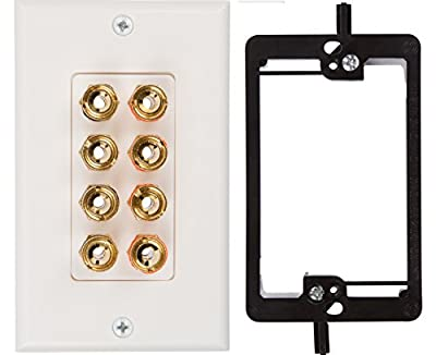 Buyer's Point Single Speaker Wall Plate, Premium Quality Gold Plated Copper Banana Binding Post Coupler Type, with Single Gang Low Voltage Mounting Bracket Device