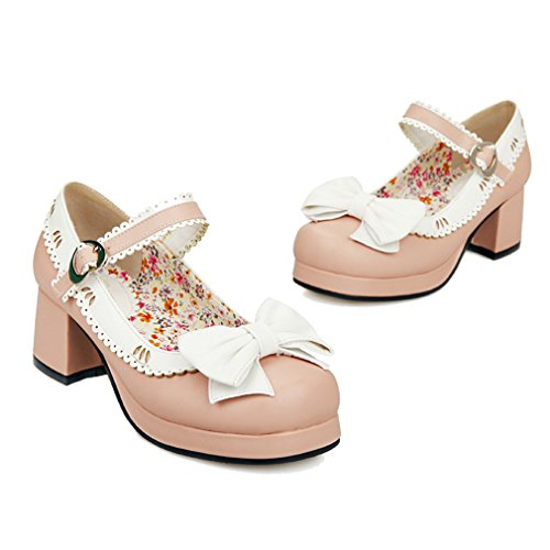 ENMAYER Womens Bows Bells Buckle Lolita Cosplay Chunky Mid Heel Mary Janes Shoes Pink(g1) sQS8R6AT