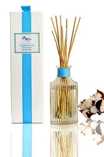 Manu Home Sunkissed Cotton Reed Diffuser Gift Set ~ Reed Sticks and 6.5oz of Fresh Diffusing Cotton and Linen Fragrance ~ Beautiful Frosted Reusable Diffuser Bottle ~ The Scent is Clean & Fresh ~