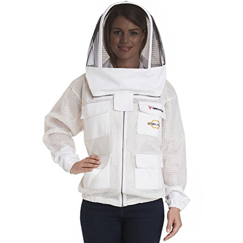 NATURAL APIARY - ZEPHYROS PROTECT Beekeeping Jacket - White - Clear View Fencing Veil - Keep Fresh & Comfortable with Maximum Protection - Professional & Beginner Beekeepers - Large