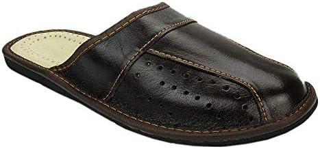 Herren Hausschuhe Leder Pantoffeln Braun M02